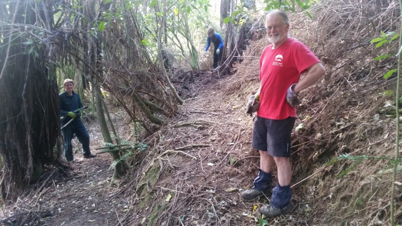 Jonathan Kennett, Paul Bruce and Sonja Mitchell tidying up one of many switchbacks